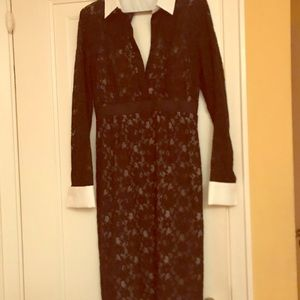 BCBG lace dress with white collar and cuffs